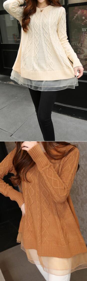 Romoti Like It Organza Splicing Sweater