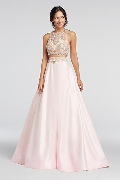 Two Piece Beaded Satin Prom Crop Top and Skirt 1461 | Formal ...