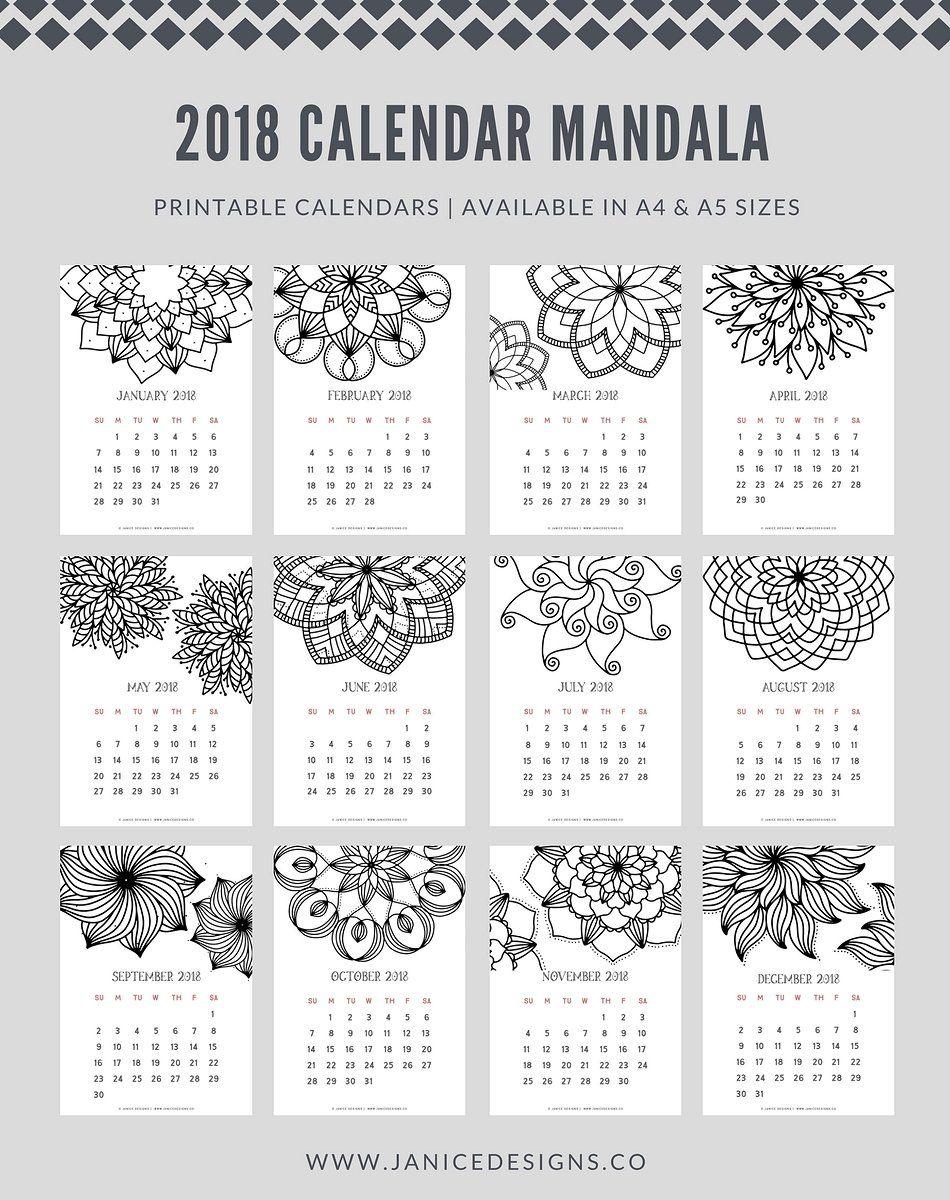 2018 Calendar Mandala Std By Janice Designs On Creativemarket