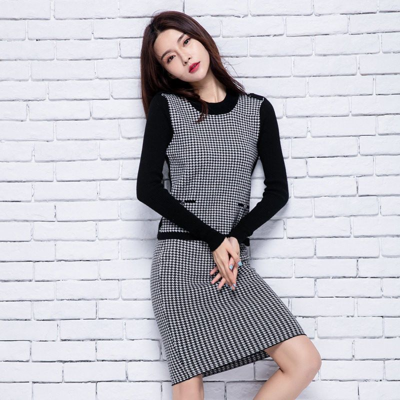 Plaid Knee-length Elastic Waist Sweater