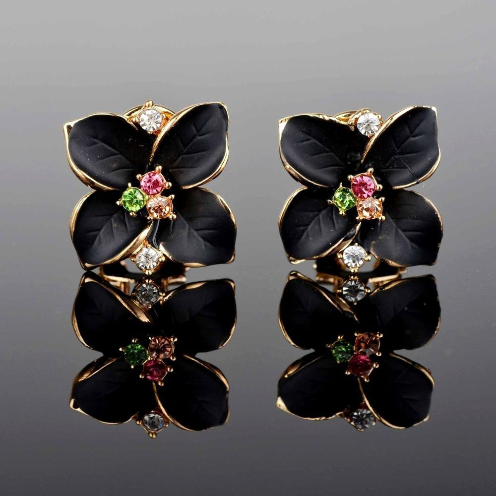 Betsey Johnson Gold Plated Black Crystal Flower Stud Earrings  Ebay