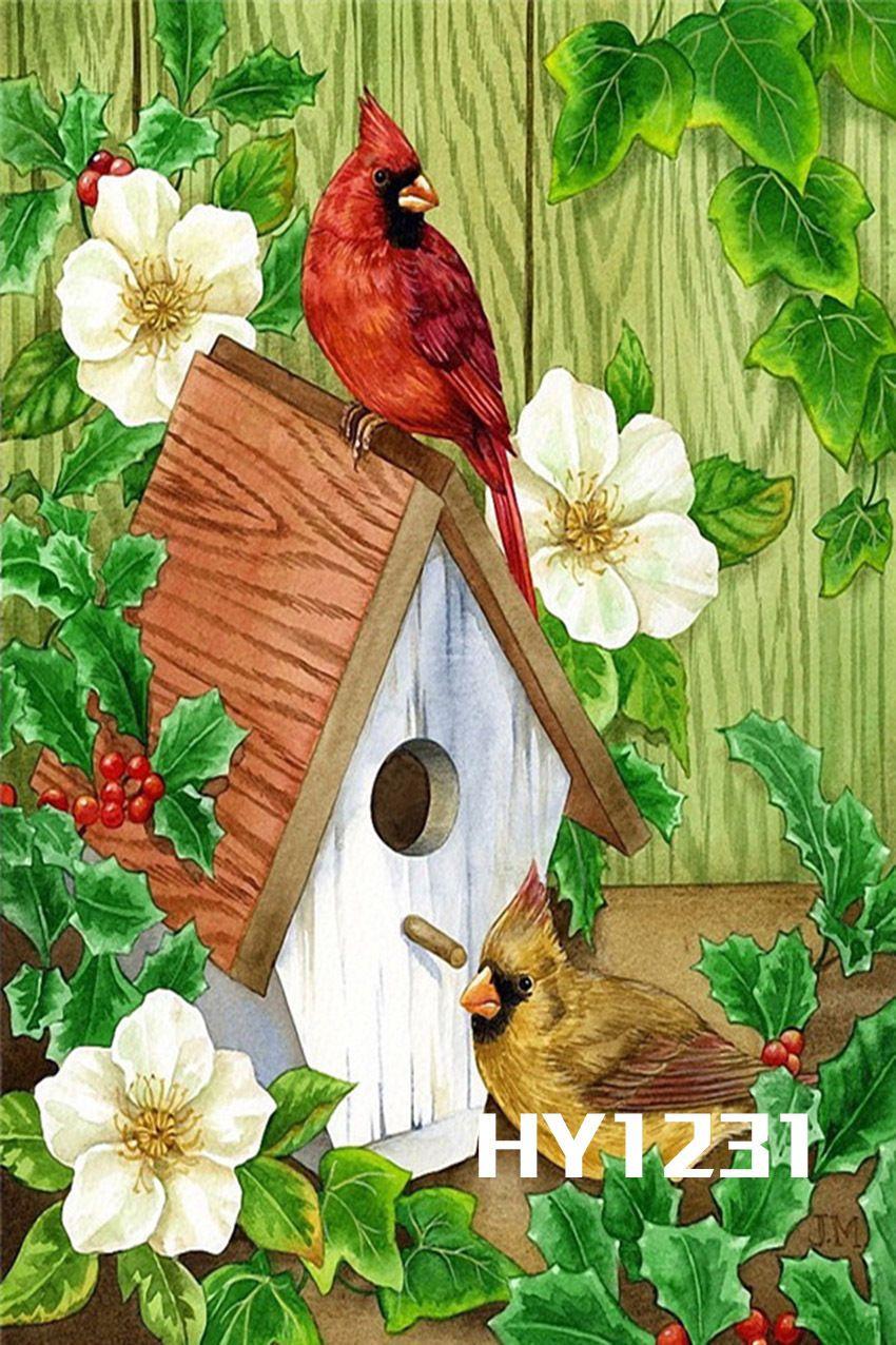 12 5x18 034 Double Sided Mini Yard Garden Flag Flowers Birds Birdhouse Banner 1231 Bird Art Bird Prints Art