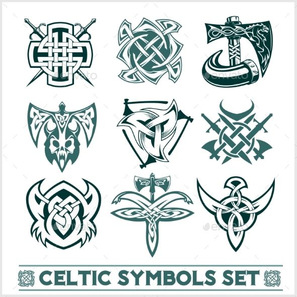 Set Of Celtic Symbols Icons Vector Symbols Icons And Font Logo
