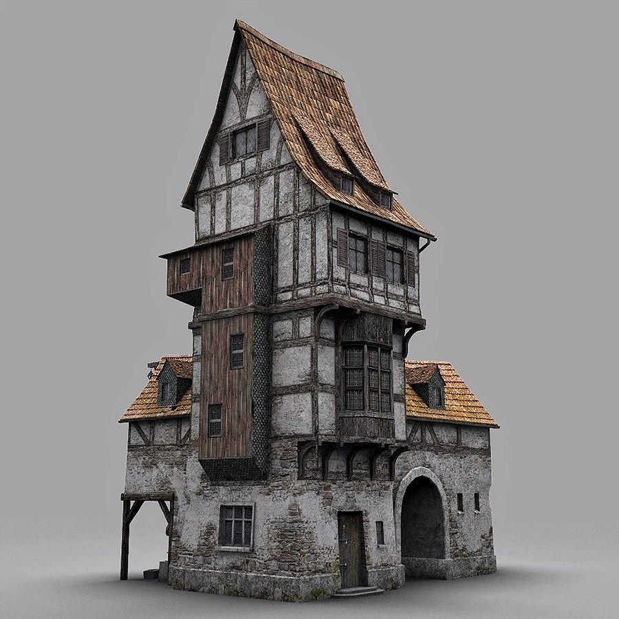 Fantasy old blacksmith house obj architecture for Miniature architecture