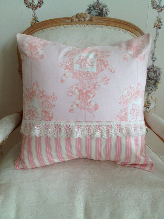 French Country Pillow Cover, Shabby Chic Pillow Cover, Paris Pink Toile Pillow, Pink Stripe ...