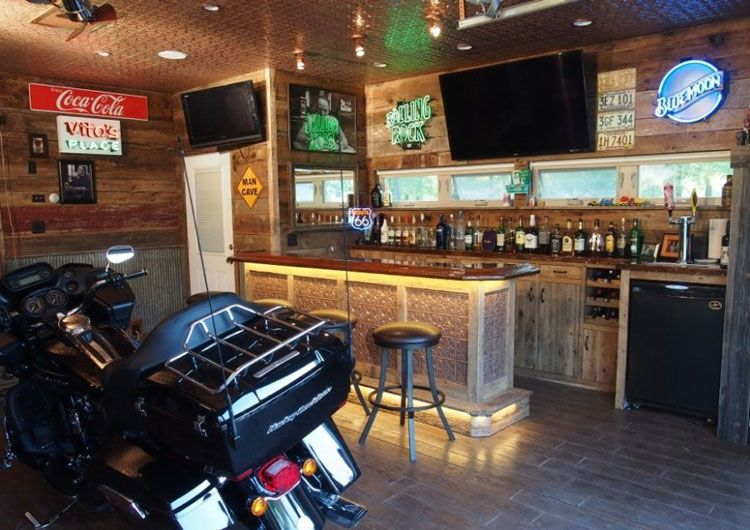 Home Ideas Review In 2020 Man Garage Rustic Man Cave Man Cave Bar