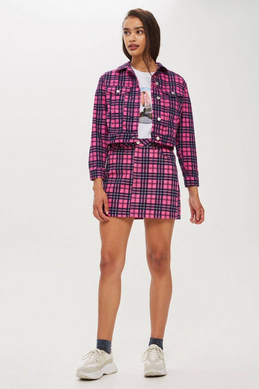 a0a7dd168 Pink Checked Denim Jacket in 2019   Fashion: tartan   Denim skirt ...