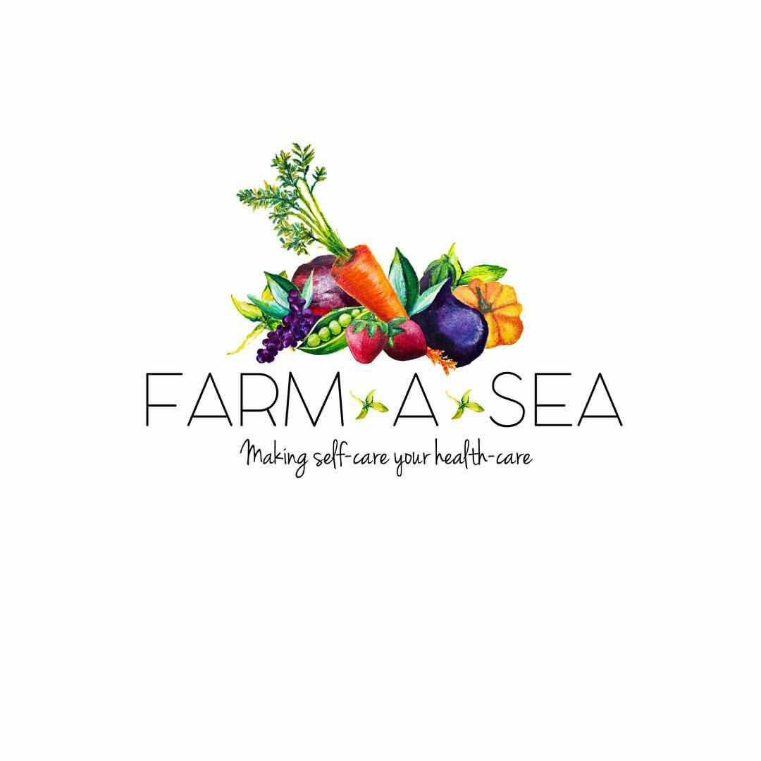 Farm A Sea Holistic Health Coach Logo Design Hand Painted
