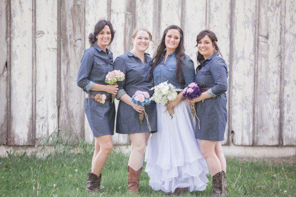 Western Wedding Ideas | Denim bridesmaid dresses, Wedding and Weddings