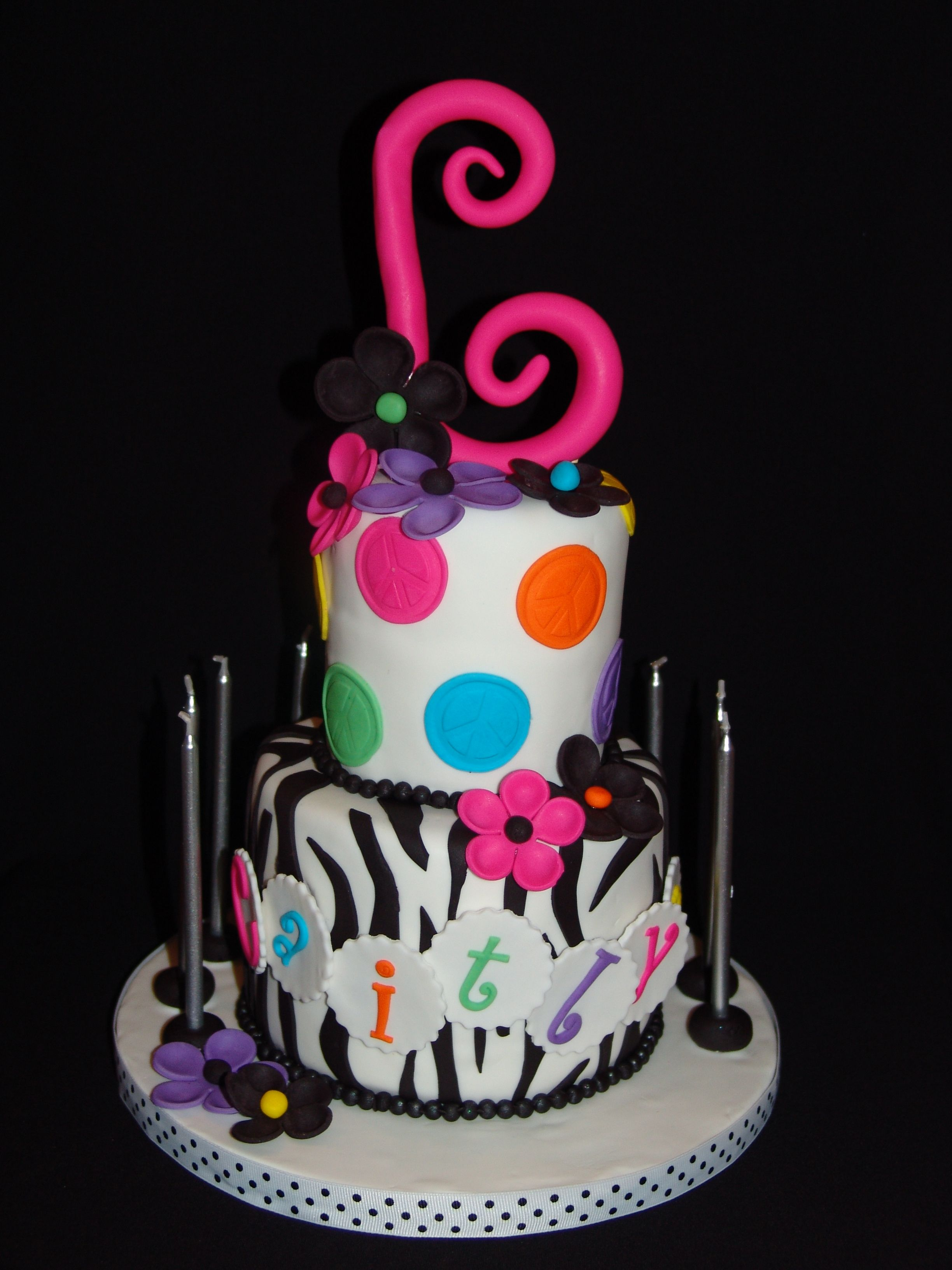 Rainbow Peace Sign Polka Dots And Zebra Stripes I Made This - 11th birthday cake ideas