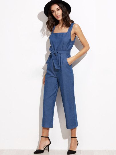 Blue Straps Self Tie Wide Leg Jumpsuits Clothes In 2018