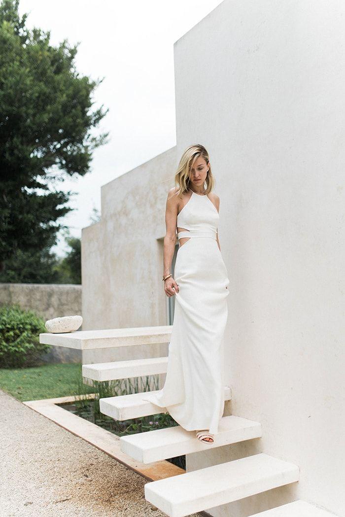 Simple White Modern Halston Heritage Dress Weddingdress