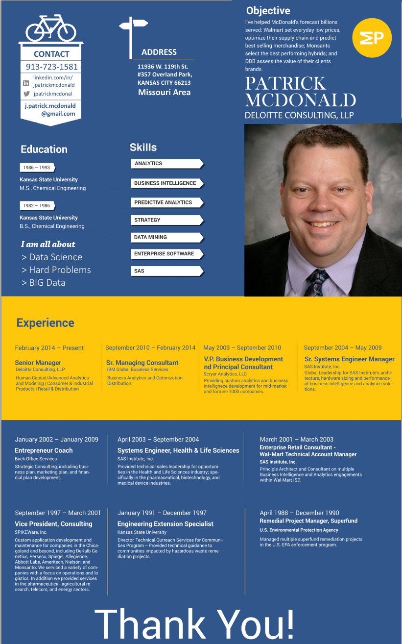 infographic resume patrick mcdonald data scientist solving hard big data problems