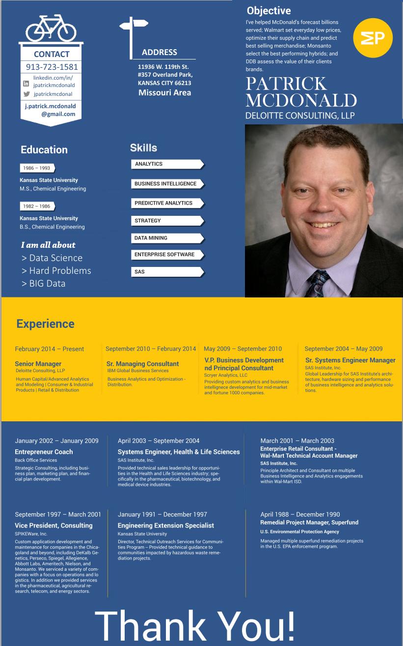 Infographic Resume Patrick Mcdonald Data Scientist Solving Hard