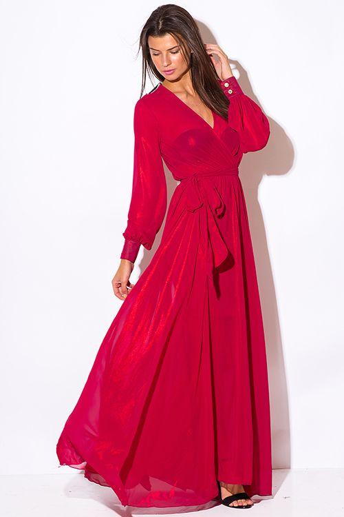 029a9e742b60a Cute cheap red metallic chiffon blouson long sleeve faux wrap formal  evening party maxi dress