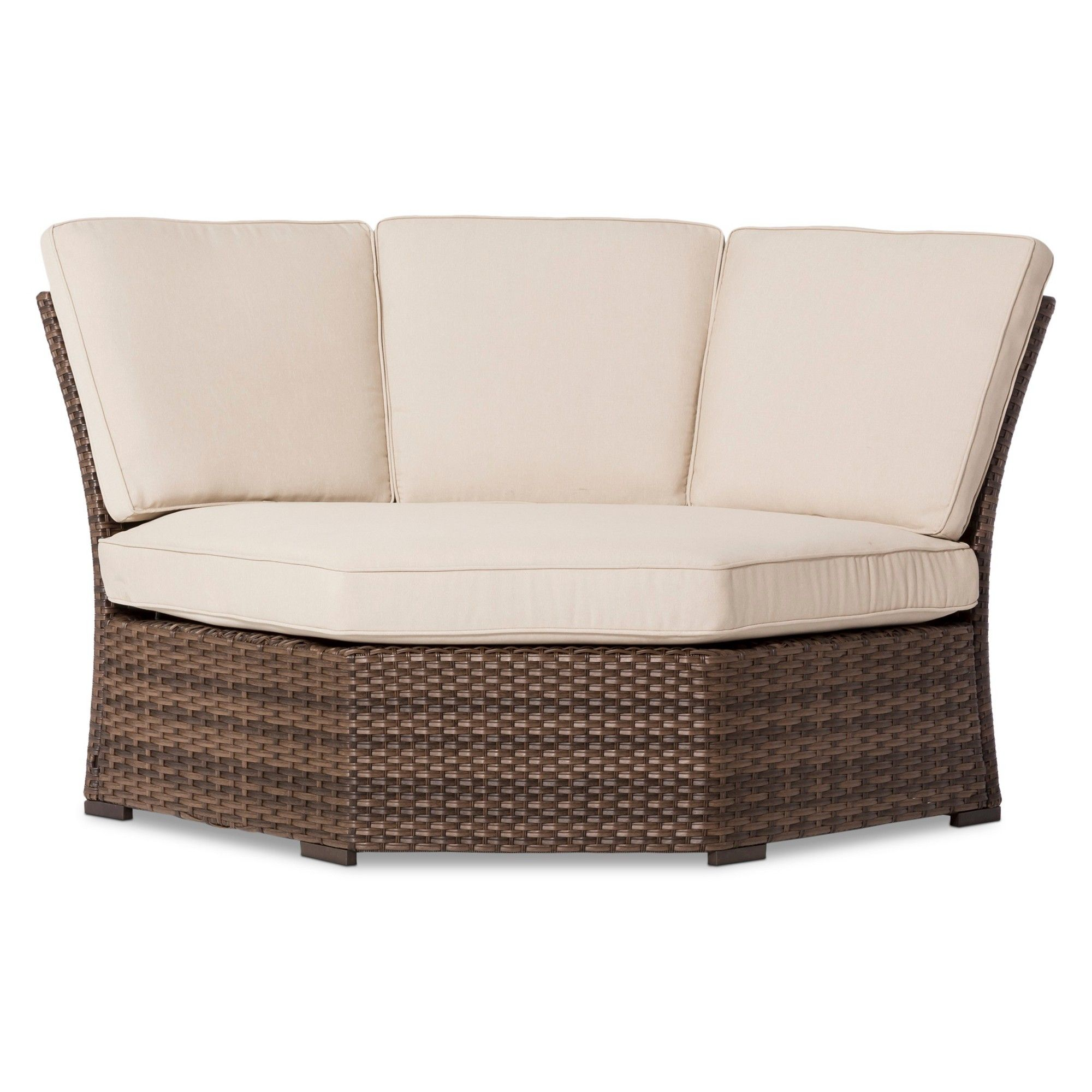 Halsted wicker patio corner sectional seat tan threshold