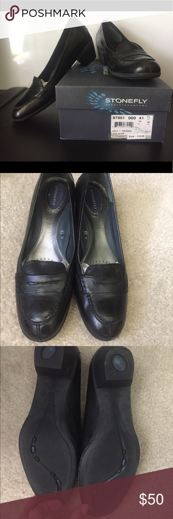"""cf6888fea4 Stonefly Shoes Black Size 10 EUC Stonefly Black leather shoes purchased in  Italy. 2"""" heel. stonefly Shoes Heels"""