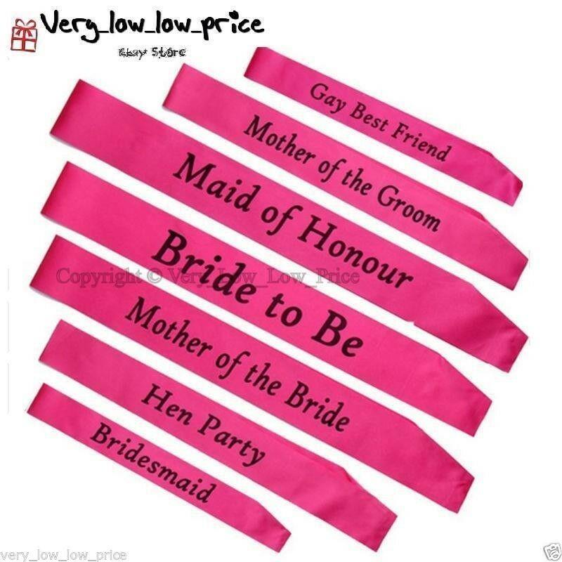 PINK ELEGANT HEN PARTY SASH SASHES GIRLS DO NIGHT OUT ACCESSORIES WEDDING BRIDE