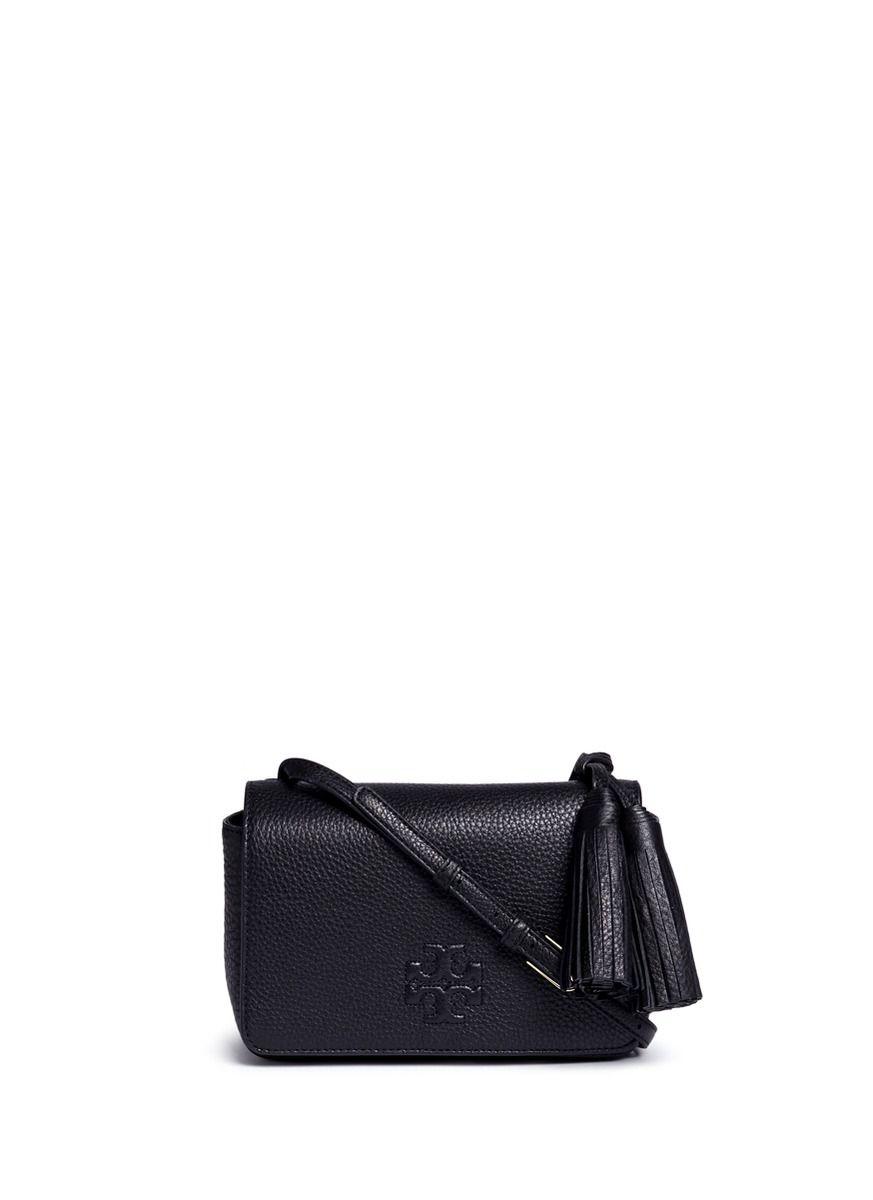 4c4f850f9439 TORY BURCH  Thea Mini  Pebbled Leather Crossbody Tassel Bag.  toryburch   bags  shoulder bags  hand bags  leather  crossbody  lining