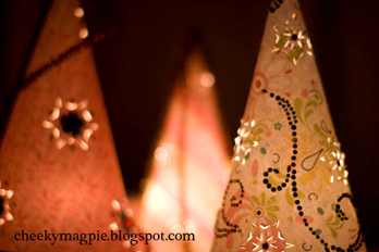 Glowing paper tree cones! #paper #trees #christmas #decor
