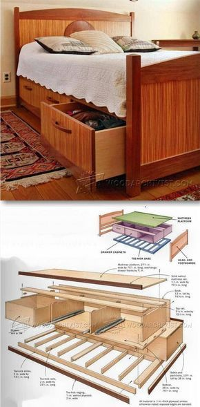 Under Bed Storage Plans Rangement En Dessous Du Lit Projets De Mobilier Plans De Meubles
