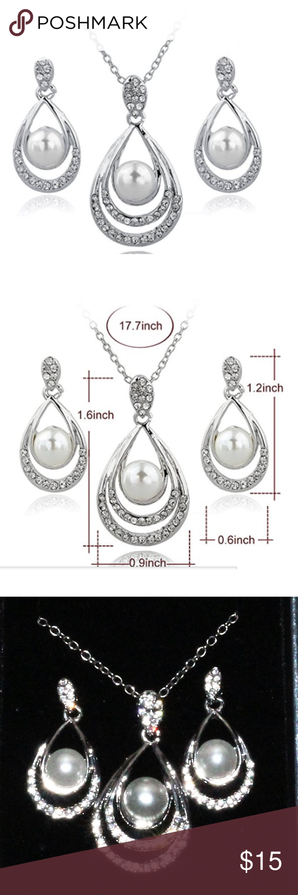 Silver plated pearl necklaceearring set water drops pearl