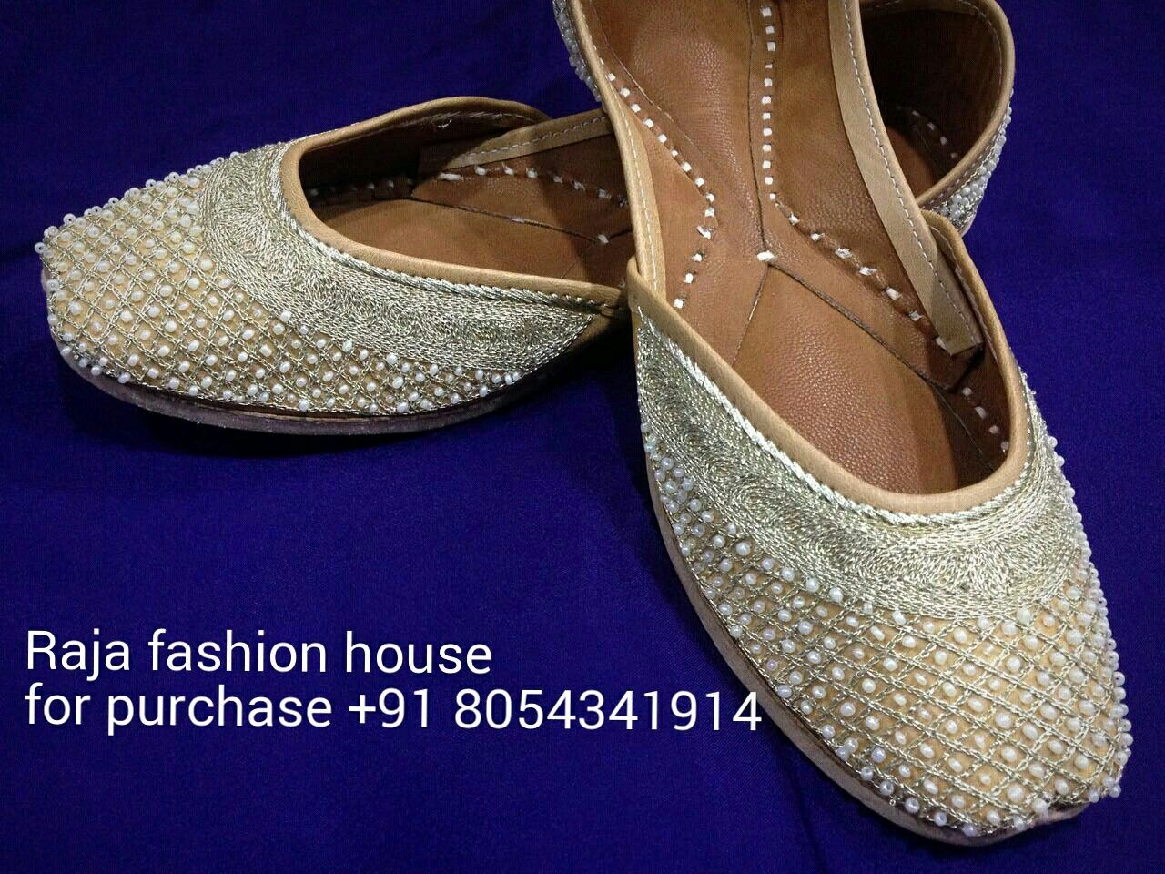 Golden Work Punjabi Jutti With Leather Base Punjabi Jutti Soft