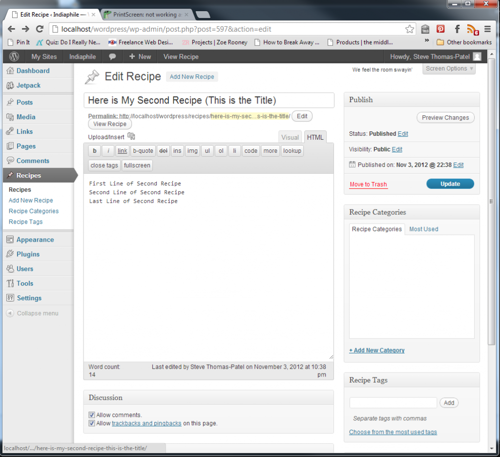 A recipe plugin for Wordpress I am working on. It still needs some work, but it's coming along nicely. We're already using it for Puja's recipes at Indiaphile.info