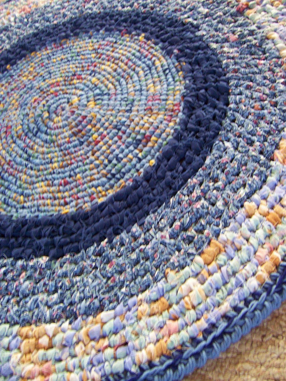 Crochet Rag Rug Toothbrush Rug Folk Art By Highforestcrafts 65 00 Crochet Rag Rug Rag Rug Toothbrush Rug