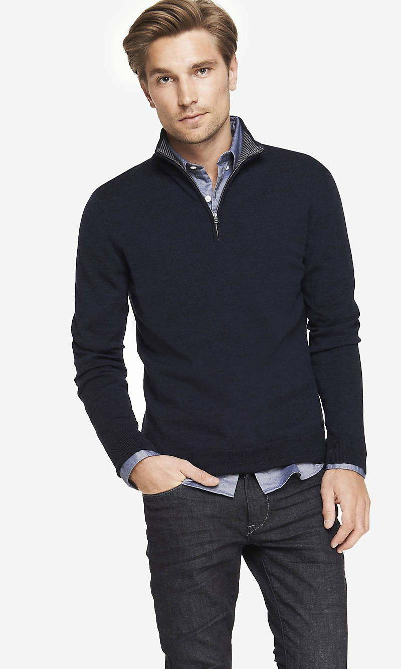 MERINO WOOL ZIP-UP MOCK NECK SWEATER | Express | Wish List | Pinterest