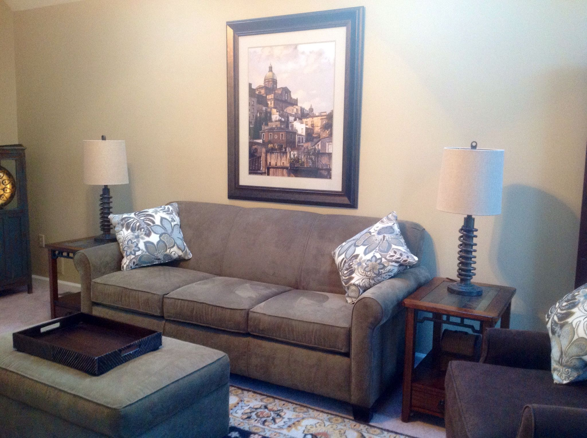 Neutral living room accessorized by one of our RG Designer