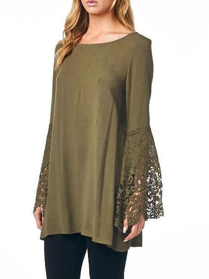 Army Green Bell Sleeve Lace Cuff T-Shirt