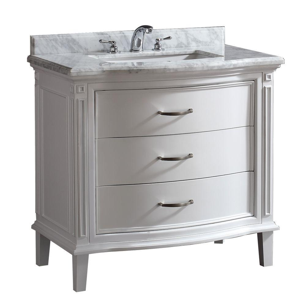 Sophie 40 In W X 22 In D Vanity In White With Carrara Marble