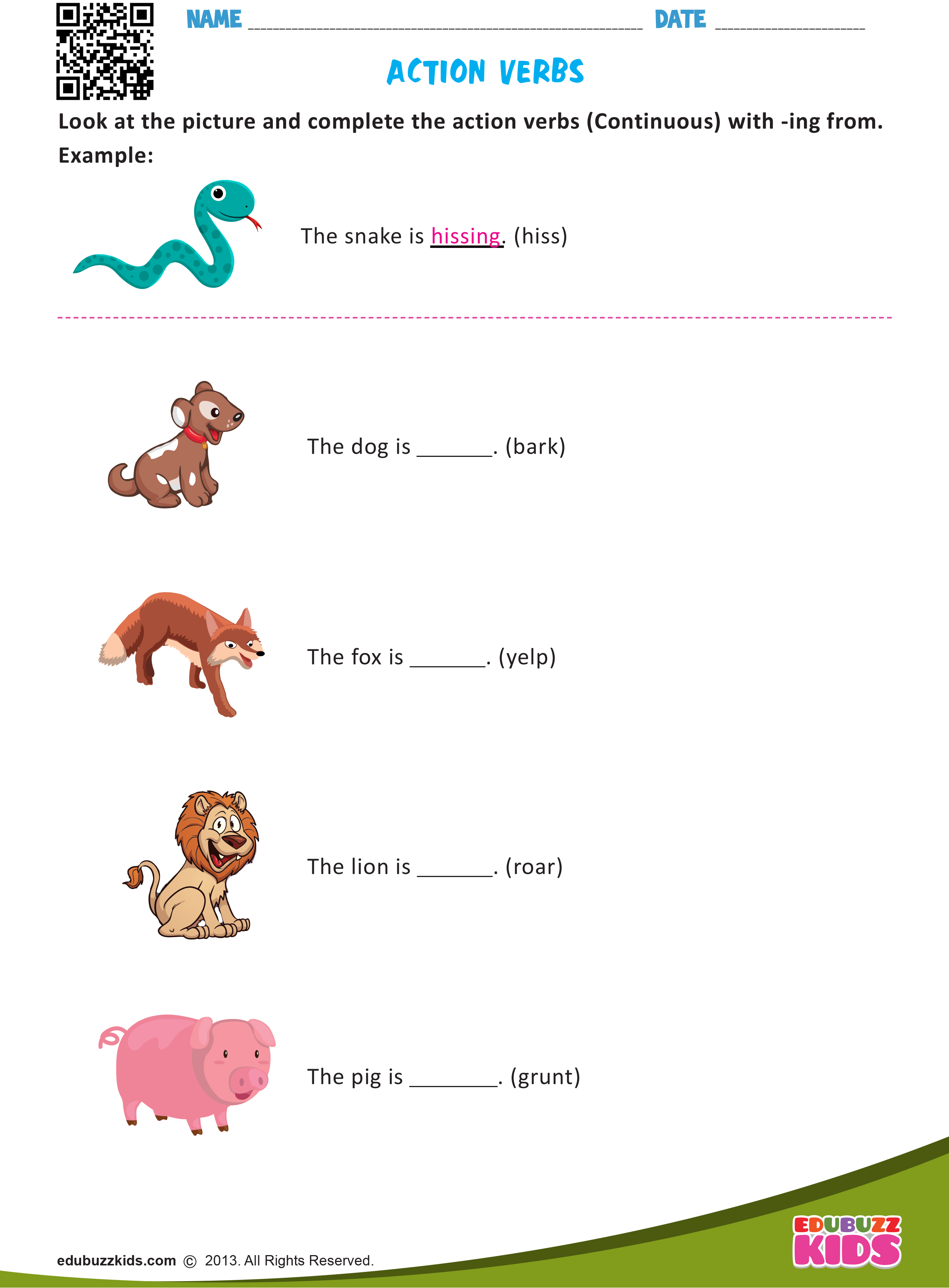 English Action Verbs Worksheets For Grade1 With Free