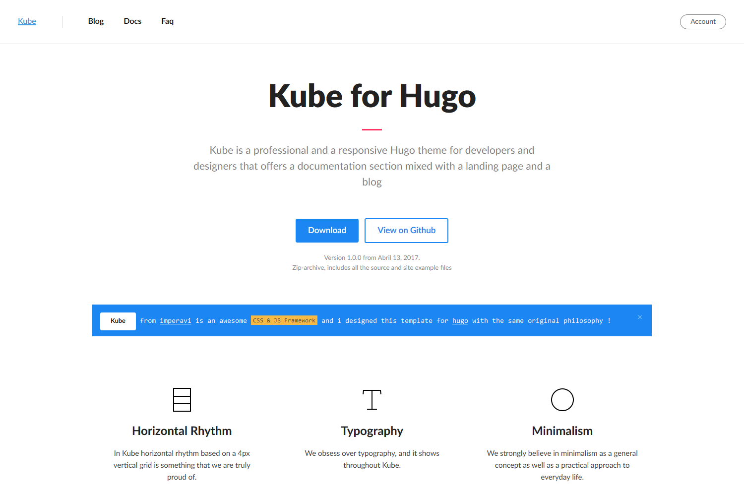 Kube is a professional and a responsive Hugo theme for