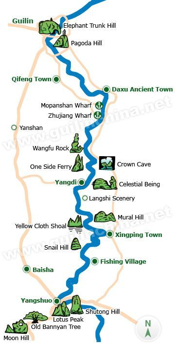 Li River Map China Travel Guilin Travel Guide