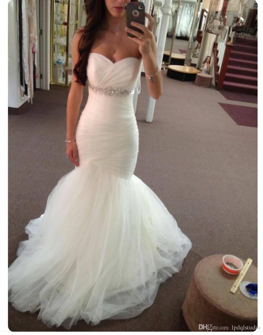 6072316efbc Sexy Mermaid Wedding Dresses Ivory Bridal Gowns Strapless Sparkling Sash  Sweep Train Wedding Gowns Lace-up Zipper Back Wedding Dress Wedding Dresses  Mermaid ...