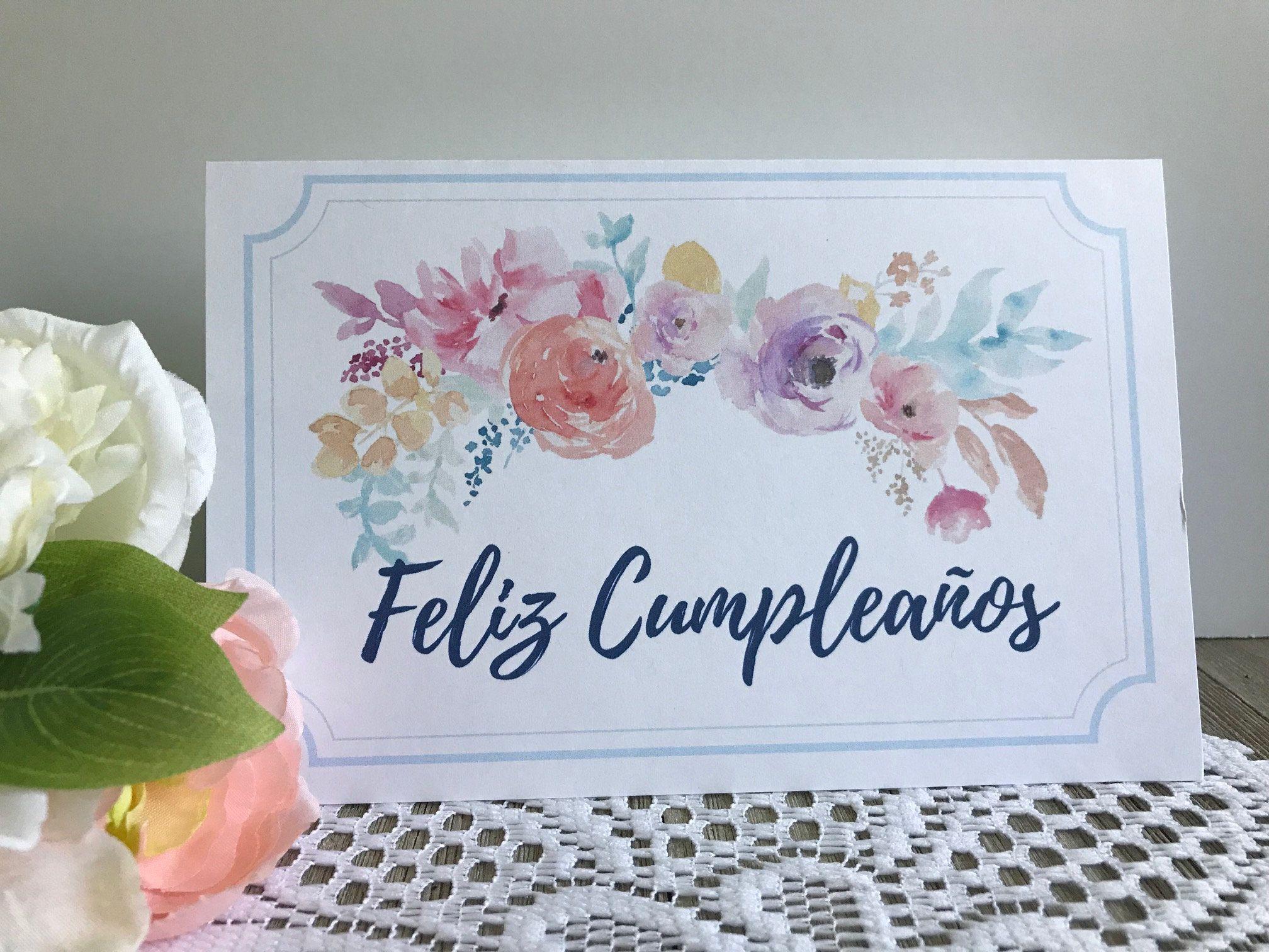 Feliz Cumpleanos Tarjeta Printable Birthday Card In Spanish