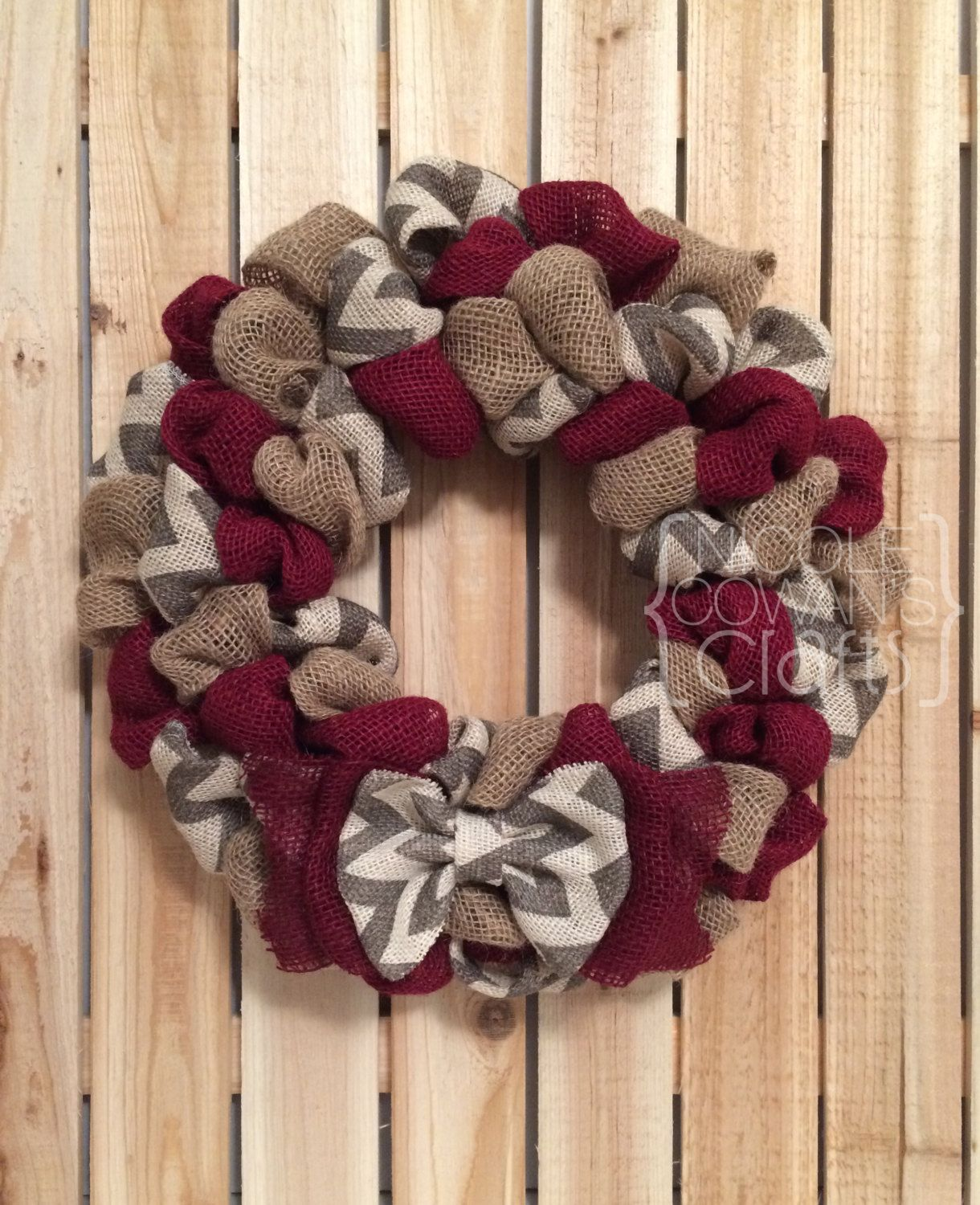 Everyday burlap wreath chevron and burgundy burlap for Burlap wreath with lights