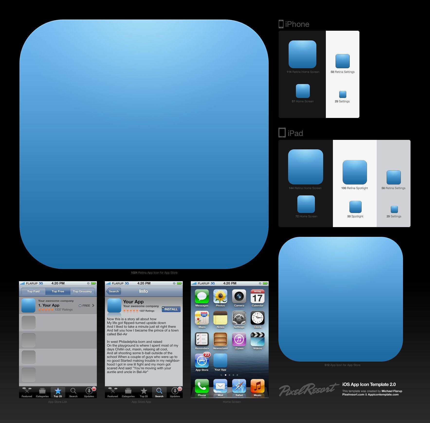 App Icon template Web application design, App icon, Ios