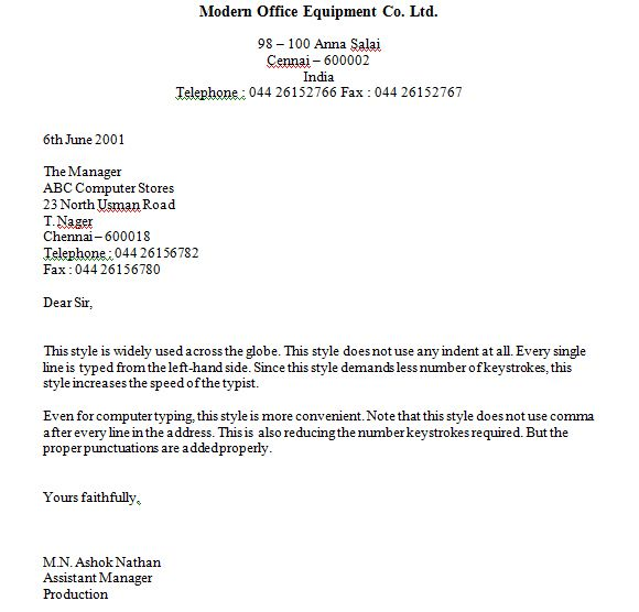 Full Block Style Business Letter Format Examples With Blank Space