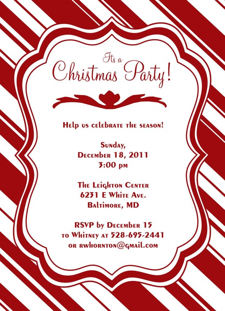 Candy Cane Christmas Party Invitation by JoDitt Available