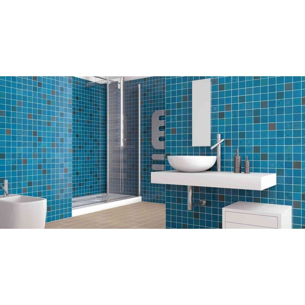 Cardiff azul 33cm x 33cm wall tile new house fittings pinterest ceramic azul tiles from the patchwork mosaic effect tiles range by lux dailygadgetfo Image collections