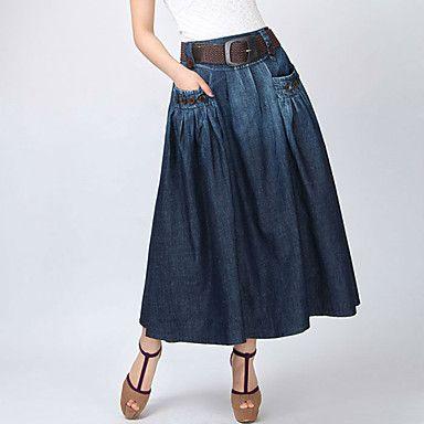 vintage da moda jeans casual maxi saia das mulheres (cinto aleatório) de 2016…