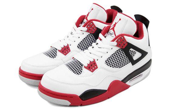 Air Jordan 4 White / Varsity Red - Black.