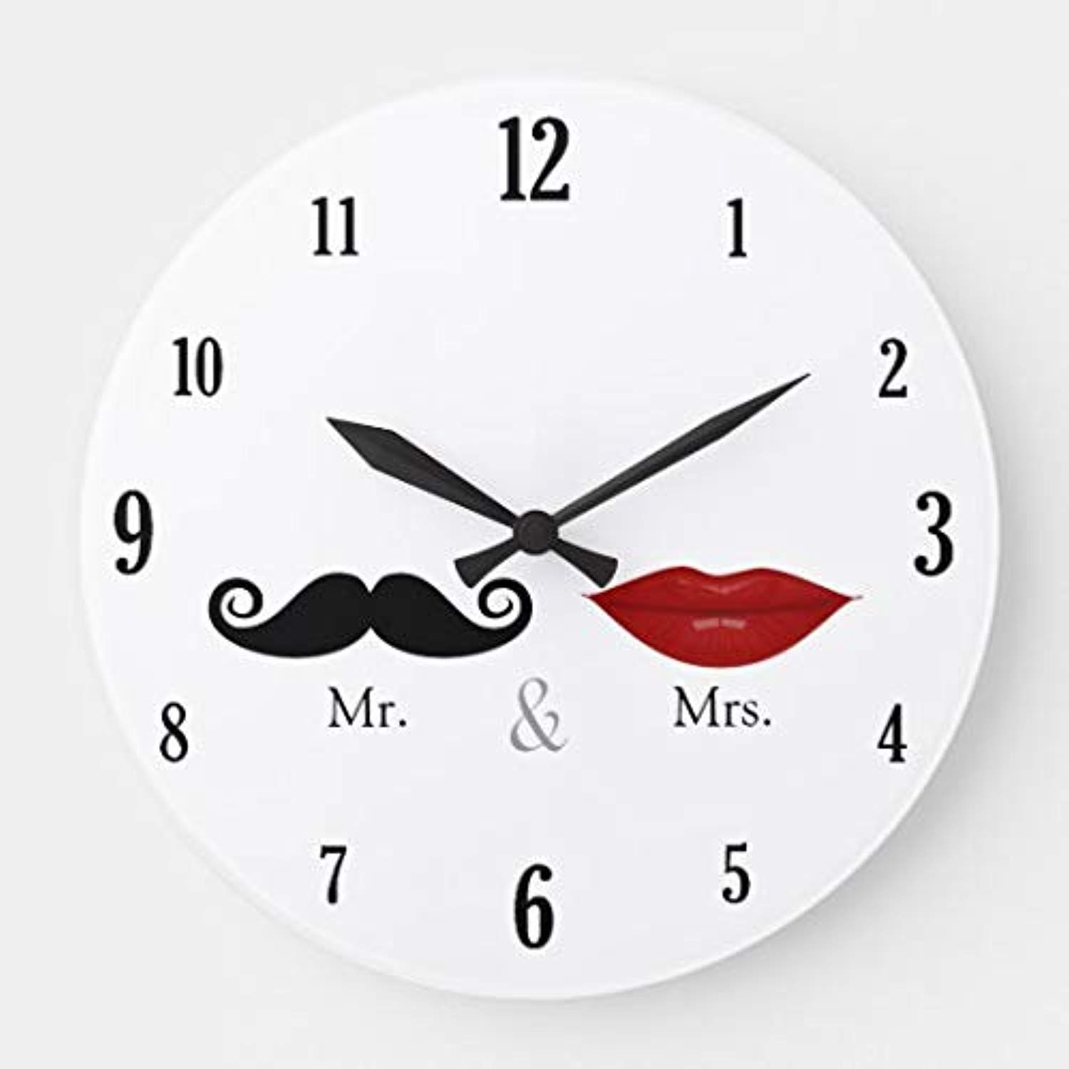 Cute Funny Mr And Mrs Lips Mustache Large Wall Clock For Kitchen