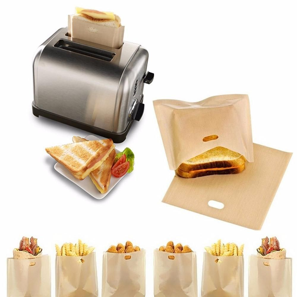 5x//set Sandwich Toaster Toast Bags Non-Stick Reusable Safety Heat Resistant Tool
