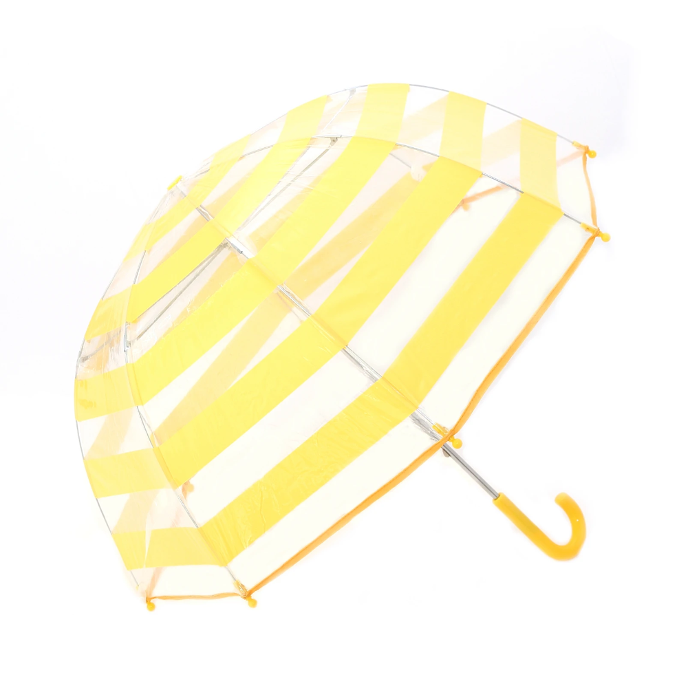 Clear Umbrella with Yellow Stripes