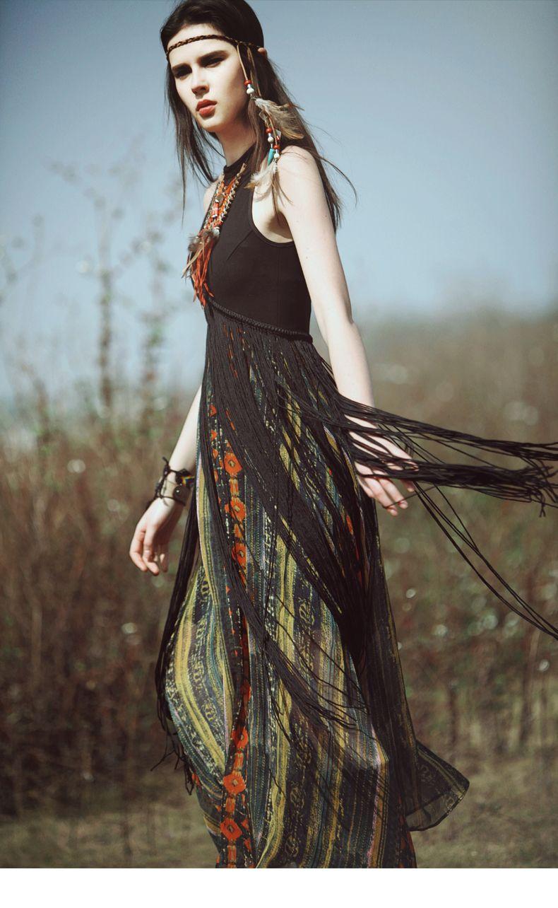 slim fit longtassel high waist maxi long dresses extra sleeves