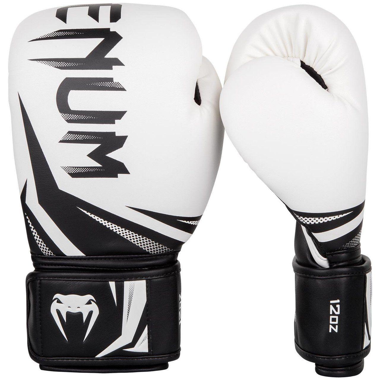 White//Black Venum Challenger 3.0 Hook /& Loop Boxing Training Gloves